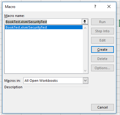 The Macro dialog shows all controls disabled (except for the Create button)